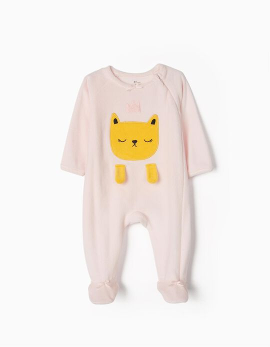Velour Sleepsuit for Baby Girls 'Cat Queen', Pink