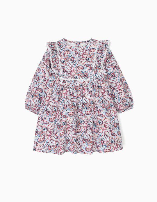 Vestido e Tapa-Fraldas para Bebé Menina 'B&S' Paisley e Folhos, Branco