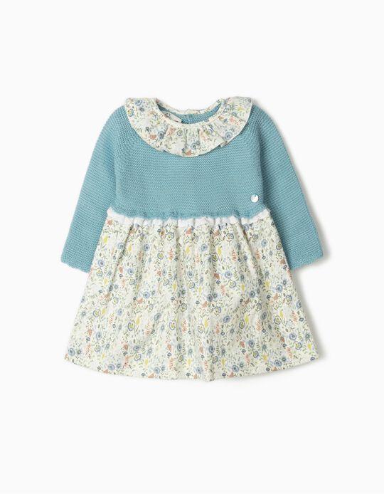 Dual Fabric Dress for Newborn Baby Girls, Blue/Flowers