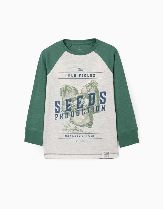 Camiseta de Manga Larga para Niño 'Seeds', Blanco/Verde