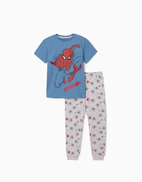 Pijama Manga Curta para Menino 'Spider-Man', Azul/Cinza