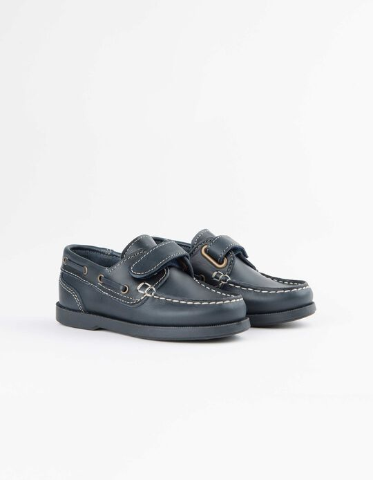 Leather Boat Shoes for Boys, Dark Blue