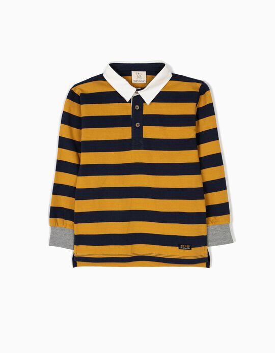 Polo Menino Riscas Azuis e Amarelas