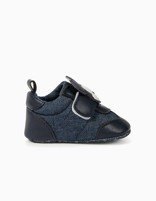 Zapatillas Denim para Recién Nacido 'Mickey', Azul Oscuro