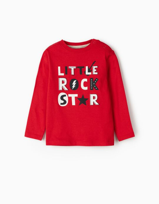 Long Sleeve 'Rock Star' Top for Baby Boys, Red