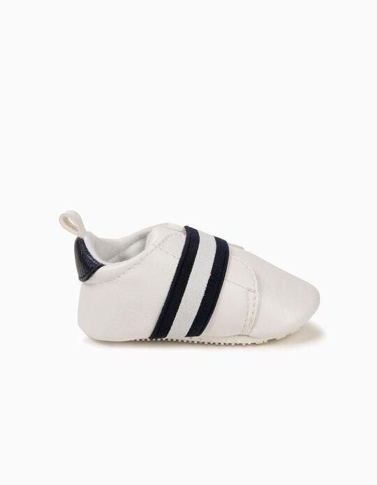 Zapatillas para Recién Nacido con Elásticos, Blanco y Azul