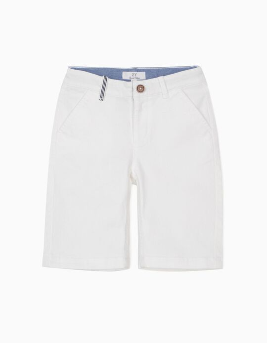Twill Shorts for Boys, White