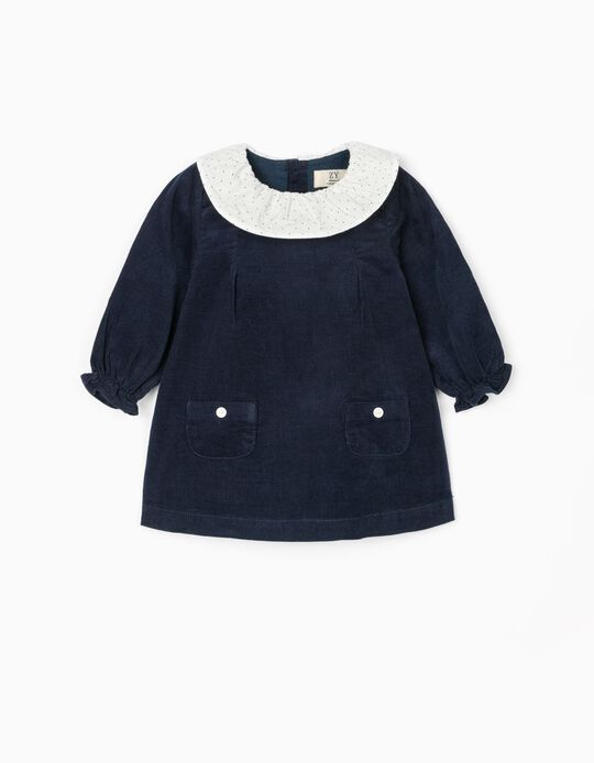 Vestido de Pana para Recién Nacida, Azul Oscuro