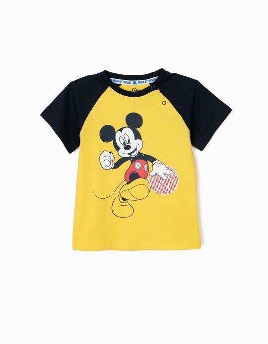 T-shirt para Bebé Menino 'Mickey Basketball', Amarela e Azul