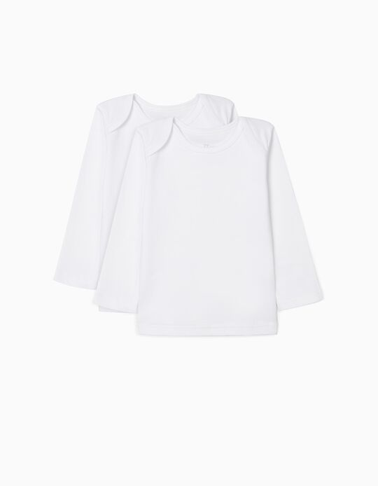 2-Pack Long-Sleeved Tops for Baby, White