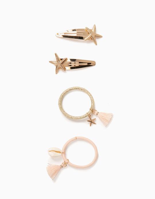 2 Hair Clips + 2 Bobbles for Girls, 'Starfish', Gold/Light Pink
