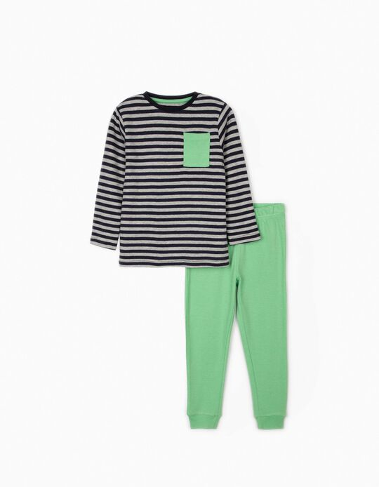 Striped Pyjamas for Boys, Green/Blue/Grey