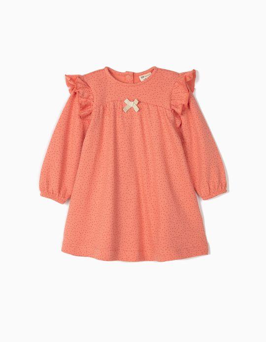 Vestido Jersey para Bebé Menina 'Dots', Rosa