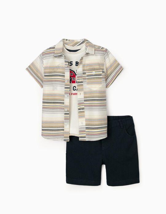 Conjunto 3 Peças para Bebé Menino, Branco/Azul Escuro