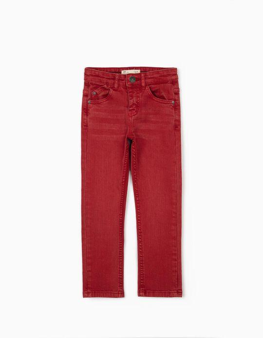 Pantalón de Sarga para Niño 'Slim Fit', Rojo