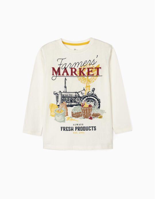 Camiseta de Manga Larga para Niño 'Market', Blanca