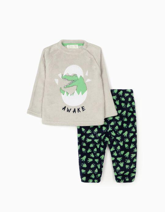 Pijama Coralina para Bebé Niño 'Dino Awake', Gris/Azul