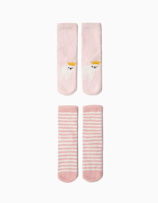 Pack 2 Calcetines Antideslizantes para Niña 'Queen Sloth', Rosa