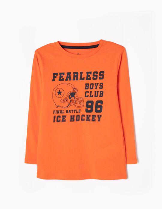 T-shirt Manga Comprida Hockey Laranja