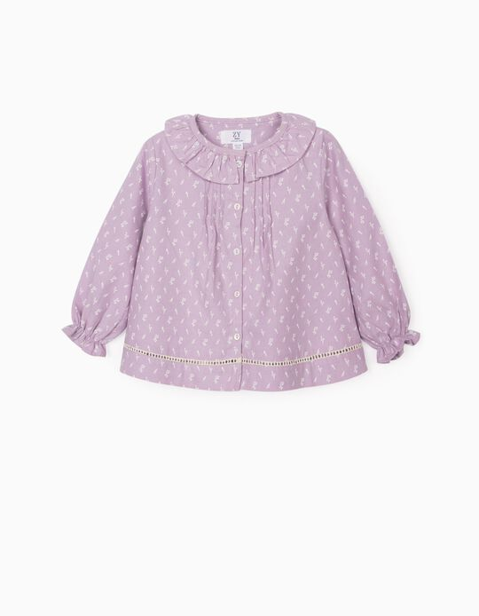 Floral Blouse for Baby Girls, Purple