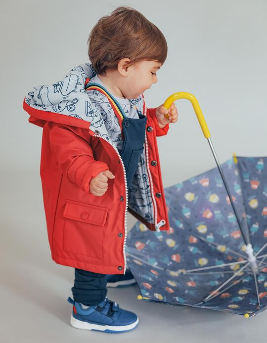 Rubber Parka for Baby Boys 'Skate Fun', Red