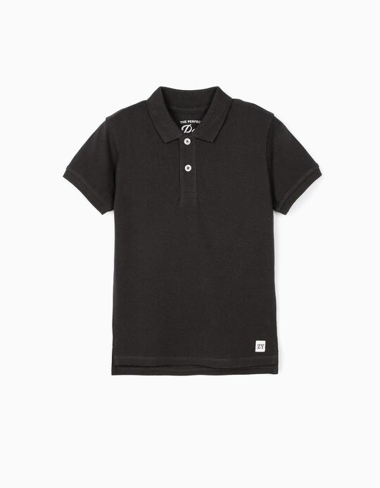 Short Sleeve Polo Shirt for Boys, Dark Grey