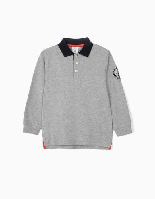 Long Sleeve Piqué Knit Polo Shirt for Boys, 'Tree House', Grey/Dark Blue