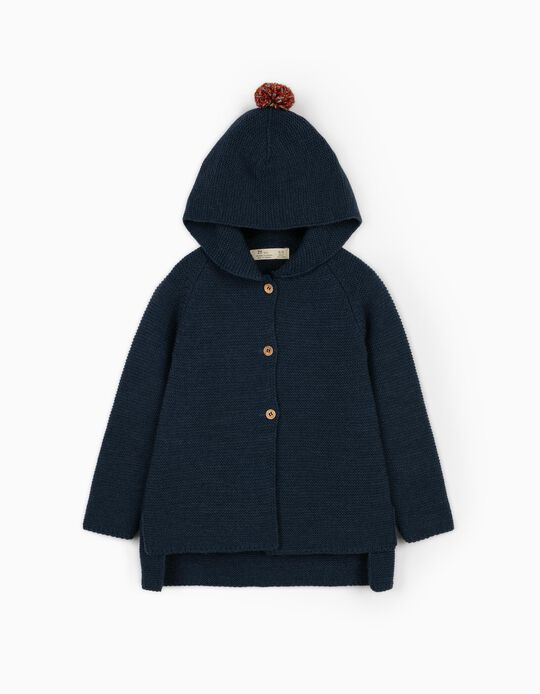 Hooded Cardigan for Girls, Dark Blue