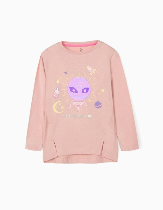 Long Sleeve Top for Girls 'You Enchant Me', Pink