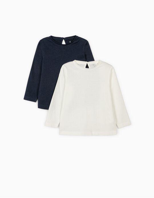 2 T-shirts Manga Comprida para Bebé Menina, Branco/Azul Escuro
