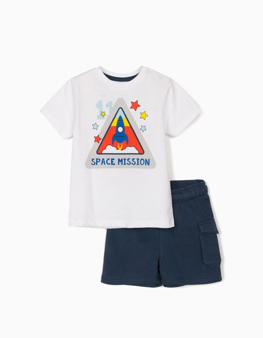 T-shirt and Shorts for Baby Boys, 'Space Mission', White/Blue