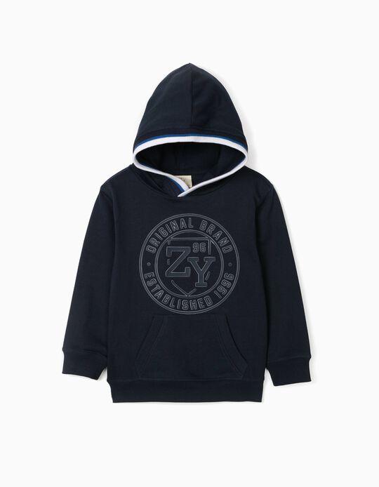 Sweatshirt com Capuz para Menino 'ZY 96', Azul Escuro