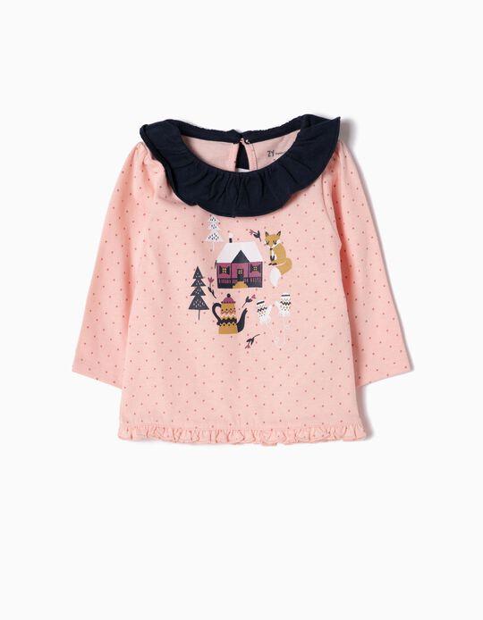 Camiseta de Manga Larga con Lunares Rosa