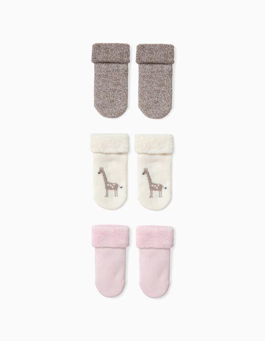 Pack 3 Calcetines para Bebé Niña 'Animals' de Algodón Orgánico, Tricolor