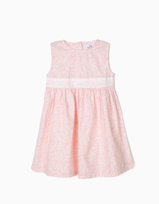 Vestido Florido para Bebé Menina, Rosa e Branco