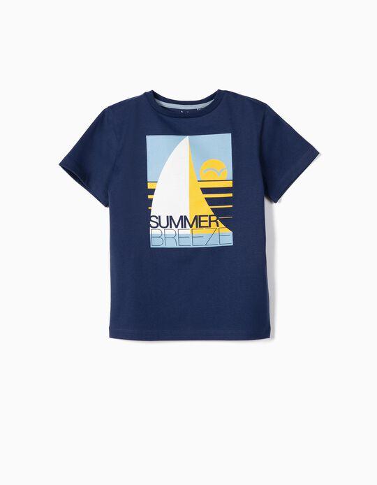 T-shirt para Menino 'Summer Breeze' Anti-UV 30, Azul Escuro