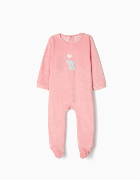 Velvet Sleepsuit for Baby Girls 'Cute Elephant', Pink