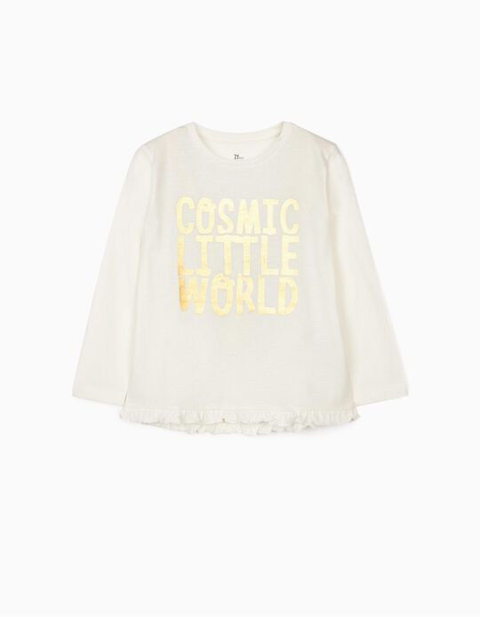 Long Sleeve Top for Girls 'Moon', White