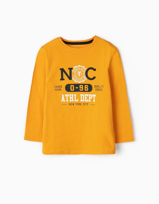 Long Sleeve, 'NYC' Top for Boys, Yellow