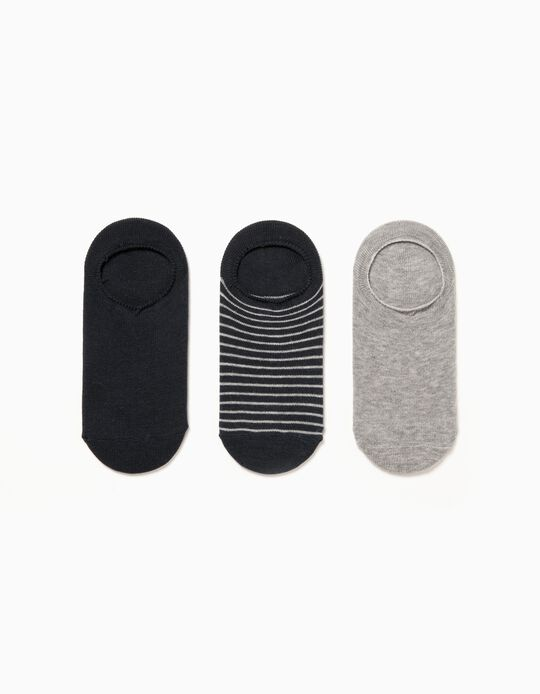 3-Pack Invisible Socks for Boys, Grey/Dark Blue
