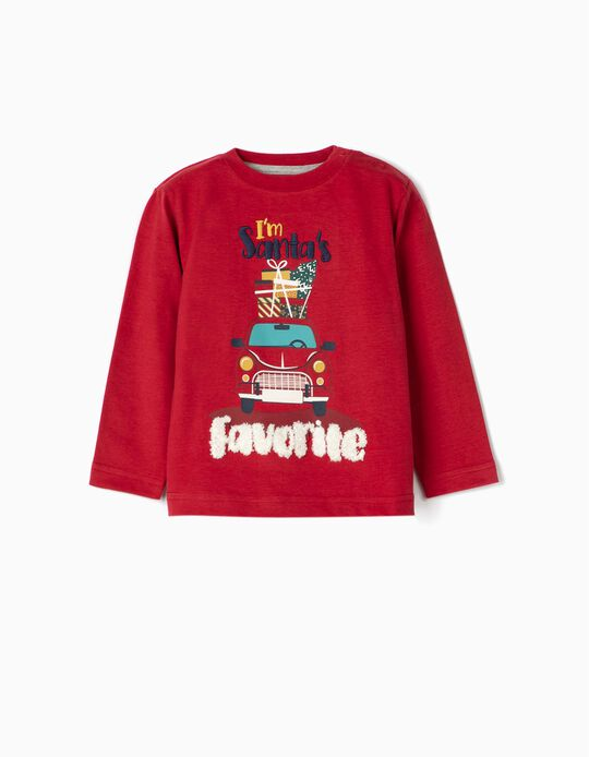 Long Sleeve 'Santa's Favourite' Top for Baby Boys, Red
