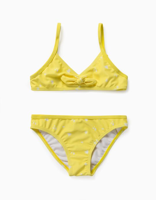 Bikini imprimé fille, jaune