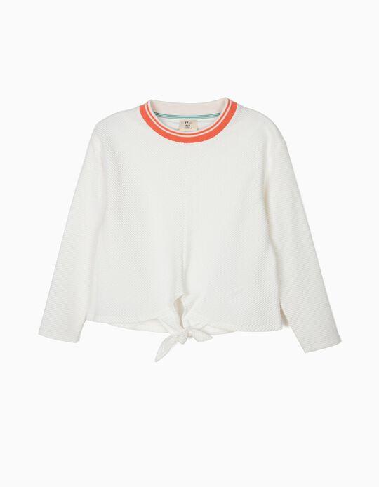 Camiseta de Manga Larga para Niña con Lazo Delante, Blanco