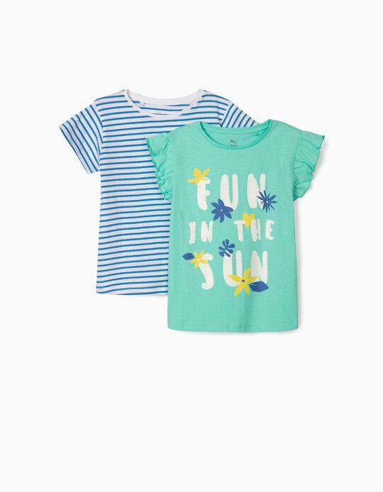 2 T-shirts fille 'Fun in the Sun', vert d'eau/bleu/blanc