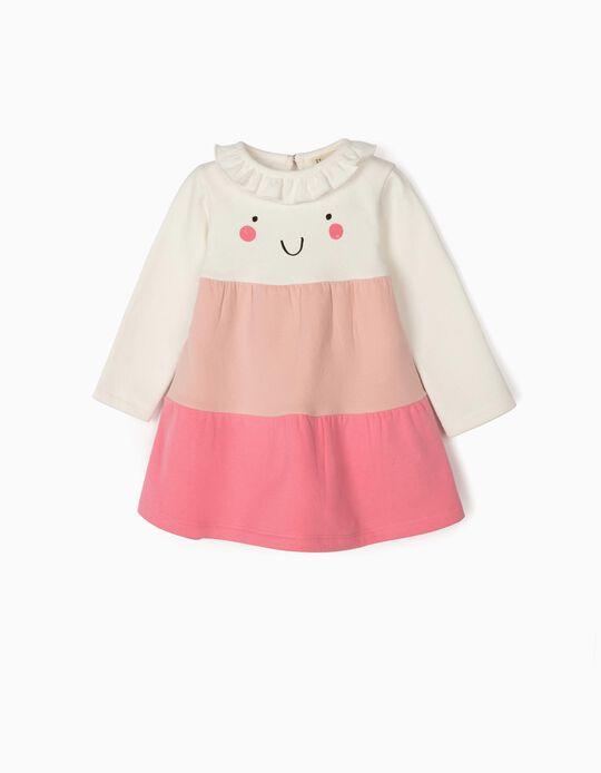 Vestido para Bebé Menina 'Smile', Branco/Rosa