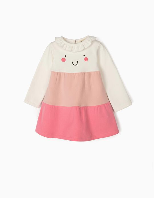 Vestido para Bebé Niña 'Smile', Blanco/Rosa