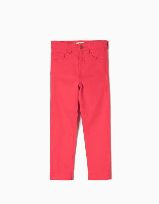 Calças de Sarja para Menina, Vermelho