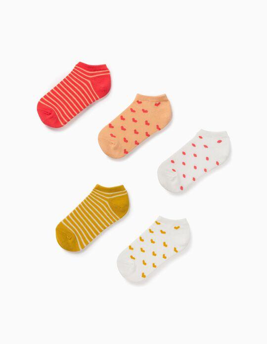 5 paires de socquettes fille 'Hearts & Dots', multicolore