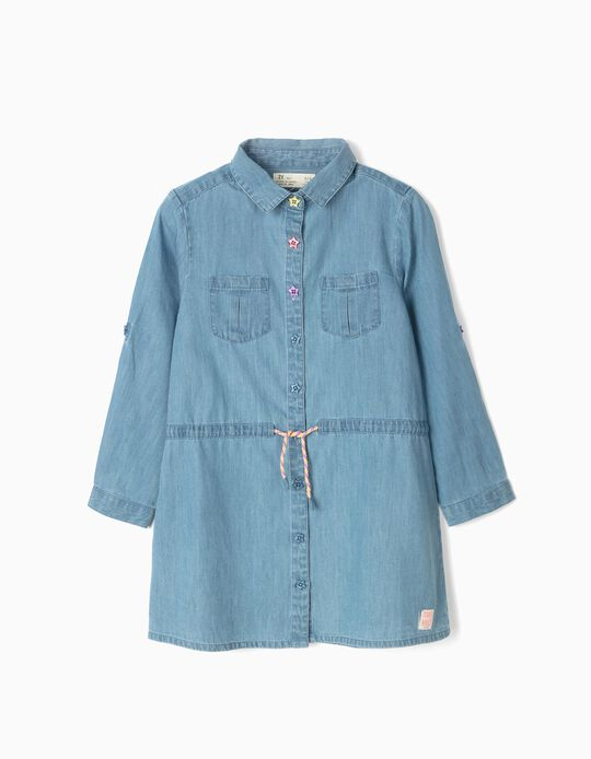 Denim Shirt Dress for Girls, Blue