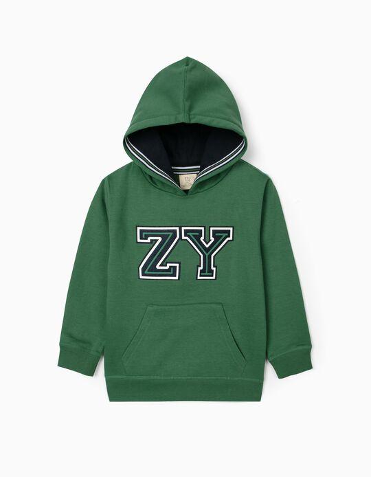 Sweat à capuche garçon 'ZY', vert